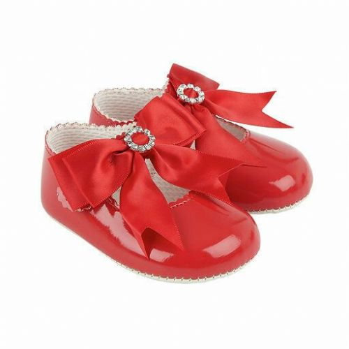 Gorgeous Baby Girl Red Big Bow Diamante Buckle Patent Pram Shoes/Soft material